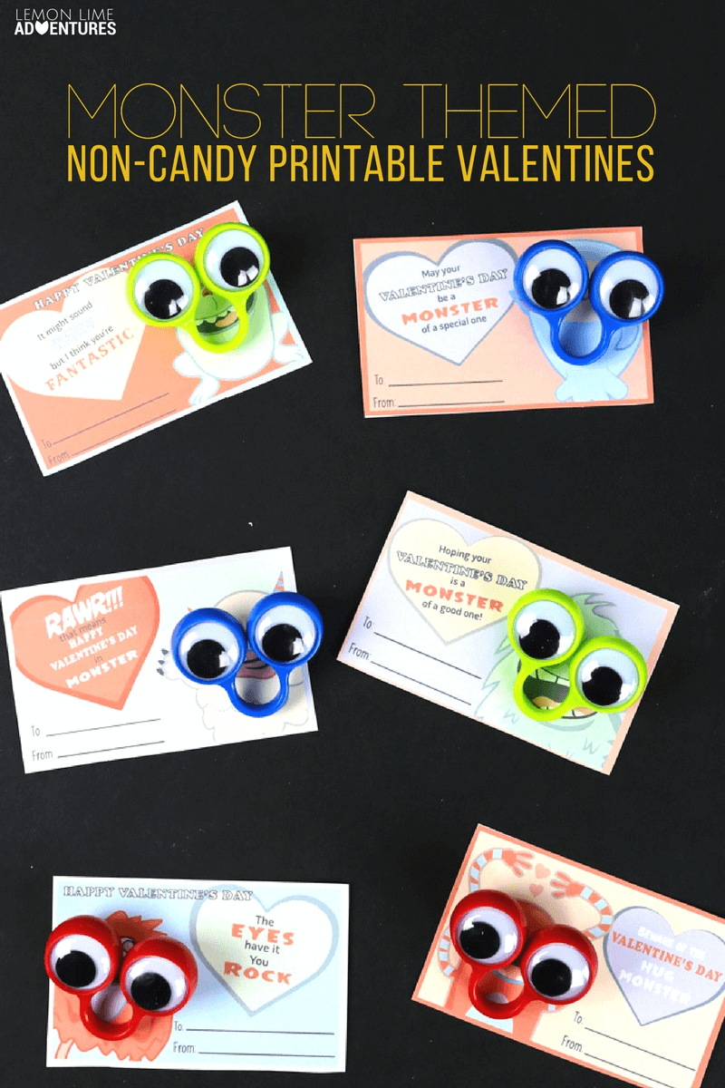 printable monster non-candy valentines!