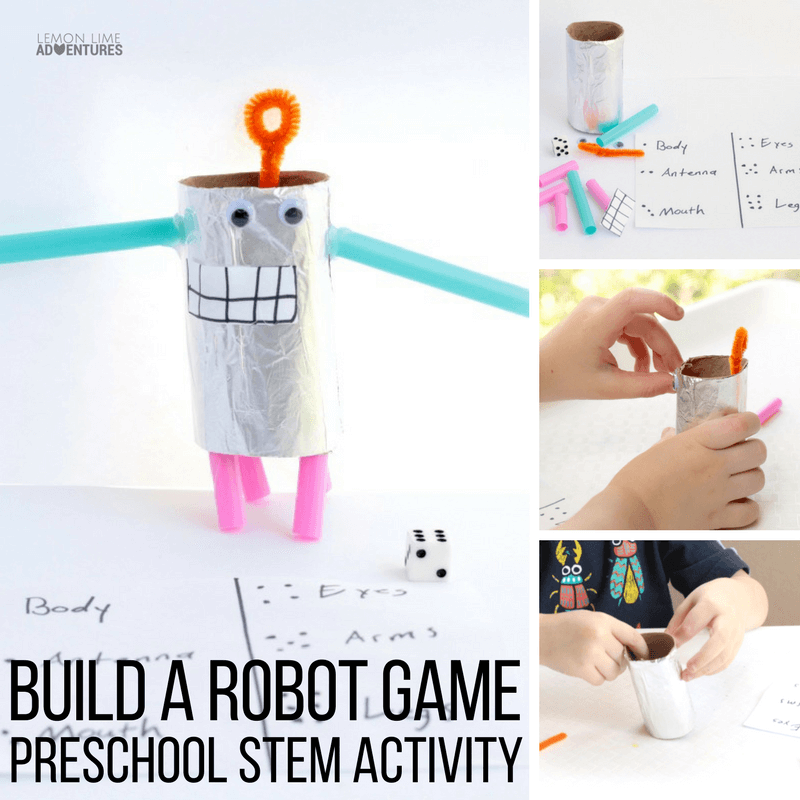 Know a preschooler who loves robots? They will love this super fun build a robot game STEM challenge perfect for preschool and kindergarten!