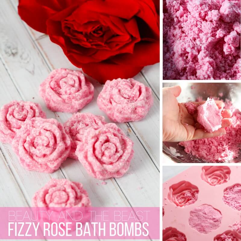 beauty and the beast fizzy rose bath bombs!