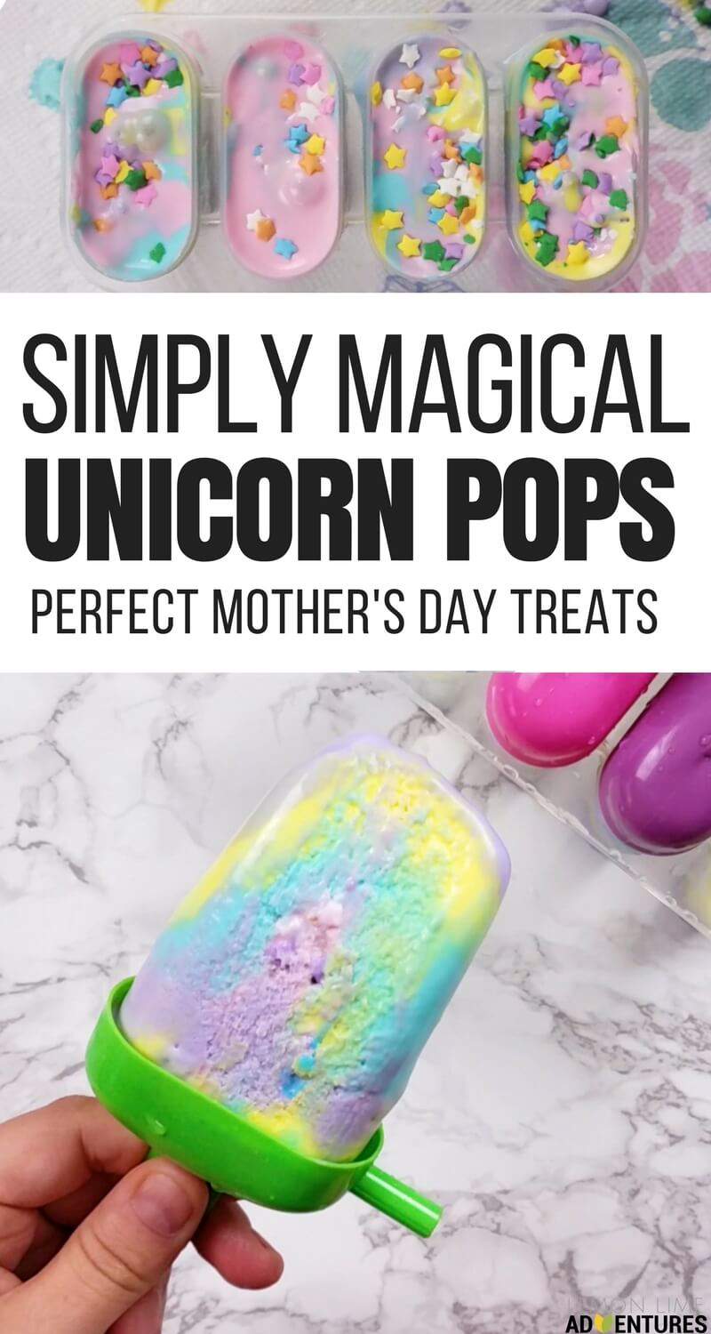 Simply Magical Unicorn Ice Cream Pops for Mother's Day- Great Mother's Day Treat